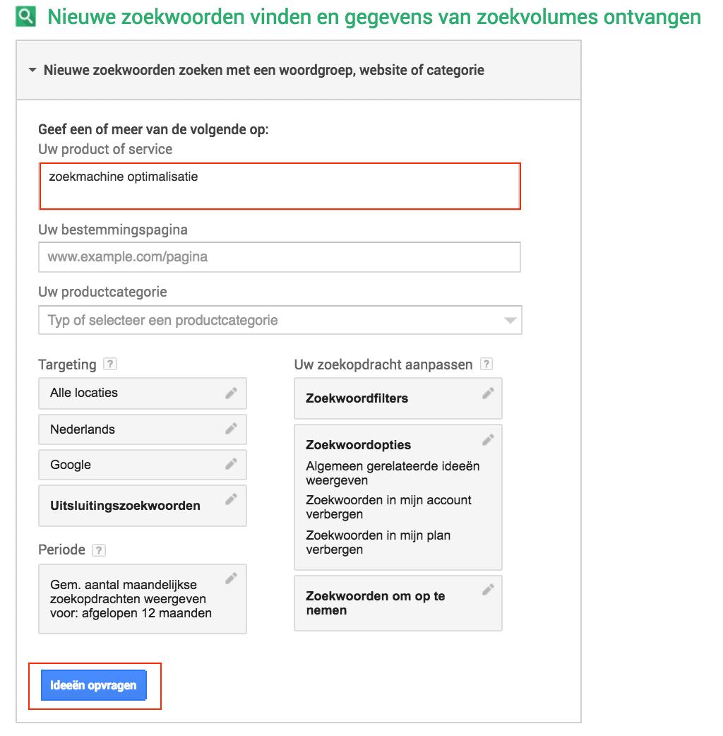 google-zoekwoordplanner-ideeen